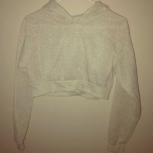 NWOT Light Grey Cropped Hoodie